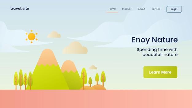 Кампания наслаждайтесь природой для целевой страницы домашней страницы веб-сайта