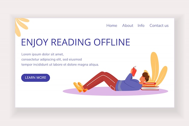 Enjoy reading offline landing page vector template. bookstore website interface idea with flat illustrations. keen reader homepage layout. landing page