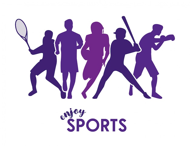 Enjoy sports text with purple athletes silhouettes