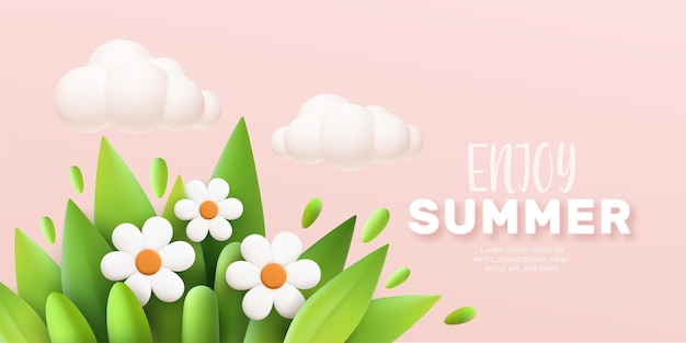 Enjoy summer 3d realistic background with clouds, daisies, grass and leaves on a pink background