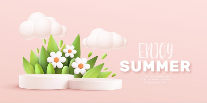 Enjoy summer 3d realistic background with clouds, daisies, grass, leaves and product podium