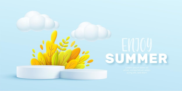 Enjoy summer 3d realistic background with clouds, grass, leaves and product podium Premium Vector