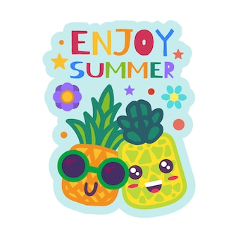 Enjoy summer badge funny pineapples in sunglasses. cartoon fruits sticker. colorful patch with creative lettering. vector design for summer party or vacation
