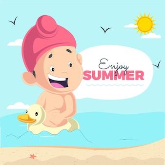 Наслаждайтесь летним дизайном баннера с пенджабским ребенком, сидящим на утке
