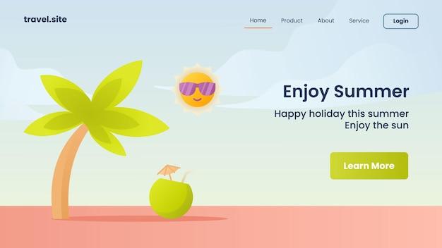 Наслаждайтесь летней кампанией для шаблона баннера целевой страницы домашней страницы веб-сайта