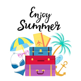 Enjoy summer hand drawn lettering. travel suitcases, plane tickets, swimsuit, sunglasses, palm, flip flops, sun umbrella.