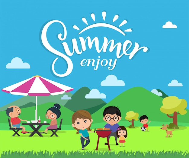 Enjoy summer, happy family picnic in outdoor modern flat style vector illustration.