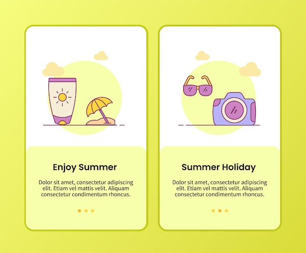 Enjoy summer summer holiday campaign for onboarding mobile apps application template