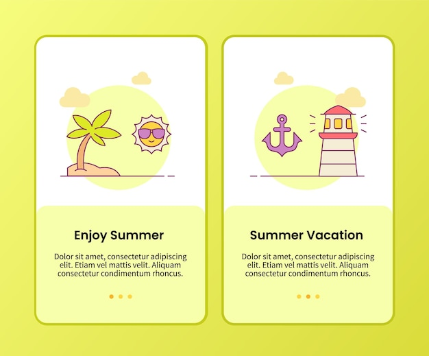 Enjoy summer summer vacation campaign for onboarding mobile apps application template