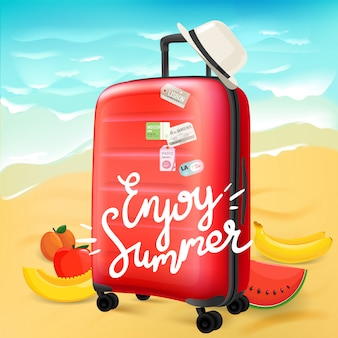 Enjoy summer travel concept with calligraphic logo