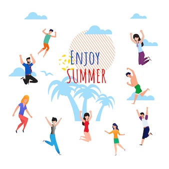 Enjoy summer wish lettering cartoon with happy jumping people.