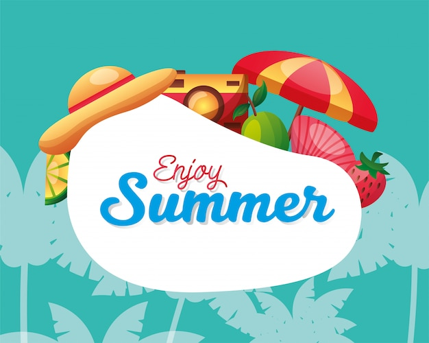 Enjoy summer with icon set and palm trees vector design