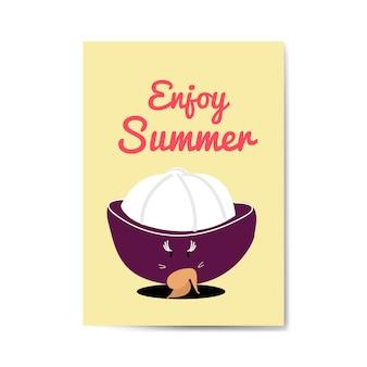 Enjoy summer with mangosteen cartoon character vector