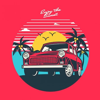 Enjoy the sunset illustration