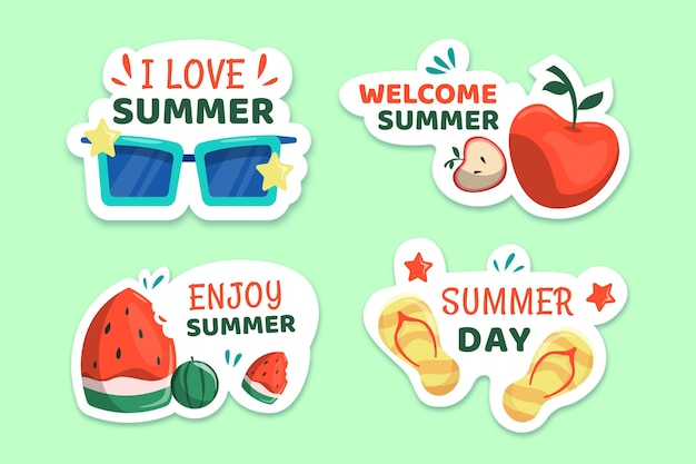 最高の夏休みラベルコレクションをお楽しみください
