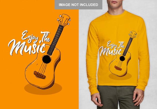 Наслаждайтесь музыкой, типография футболки дизайн вектор