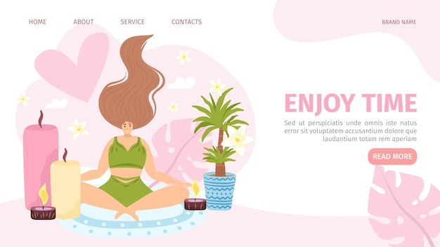 Enjoy time for flat woman website page vector illustration female character relaxation with aroma ca...