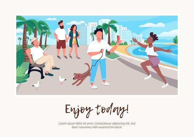 今日のバナーフラットテンプレートをお楽しみください。パンフレット、漫画のキャラクターとポスターのコンセプトデザイン。海辺の人々。夏休み都市活動横チラシ、テキストの場所とリーフレット