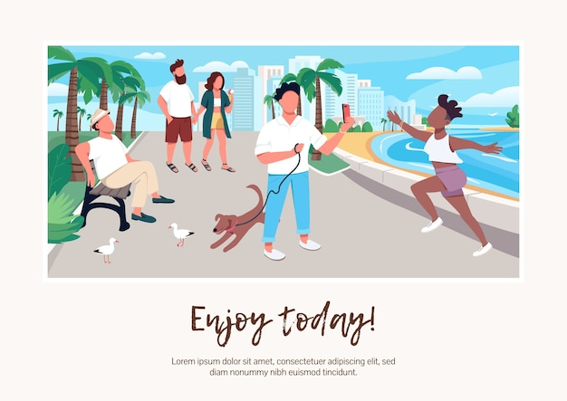 Enjoy today banner flat template. brochure, poster concept design with cartoon characters. people on seafront. summer vacation urban activity horizontal flyer, leaflet with place for text