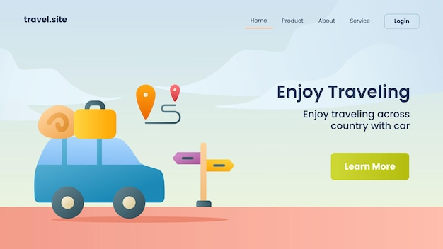 Наслаждайтесь путешествующей кампанией по посадке на главную страницу веб-сайта