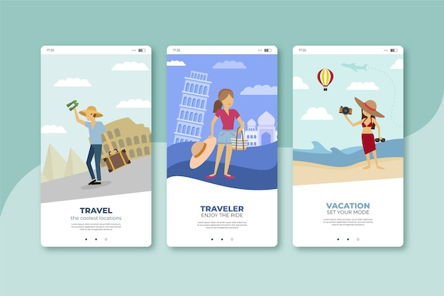 旅行中のモバイルアプリ画面をお楽しみください
