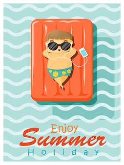Enjoy tropical summer holiday with little boy