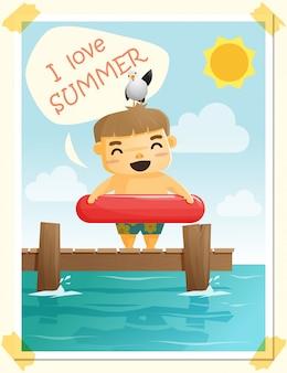 Наслаждайтесь тропическим летним отдыхом с маленьким мальчиком