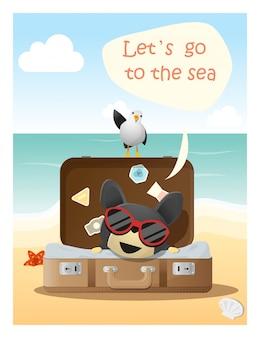 Наслаждайтесь тропическим летним отдыхом с маленькой собачкой