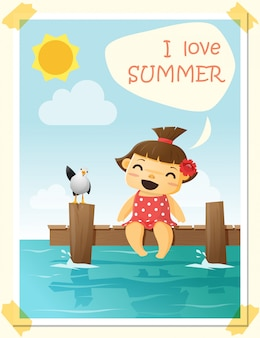 Enjoy tropical summer holiday with little girl