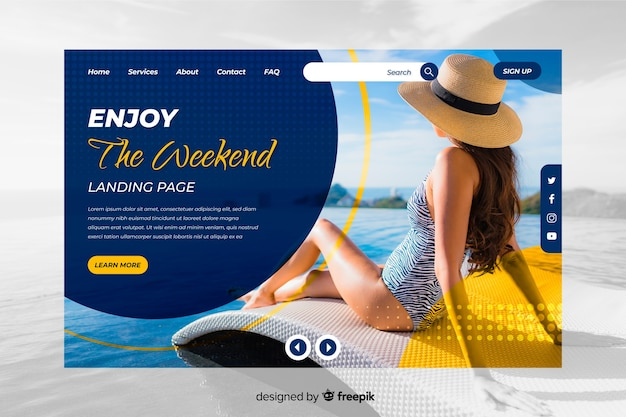 Enjoy the weekend travel landing page with photo