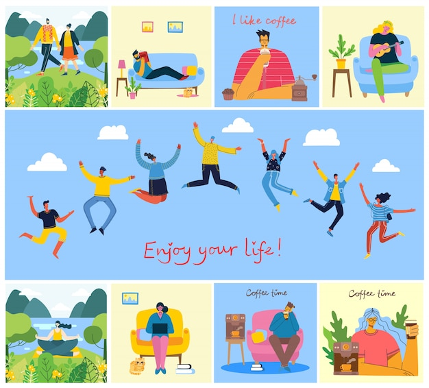 Enjoy your life. concept of young people jumping on blue background and enjoing the coffee, playing guitar, doing yoga and spending time in the park.
