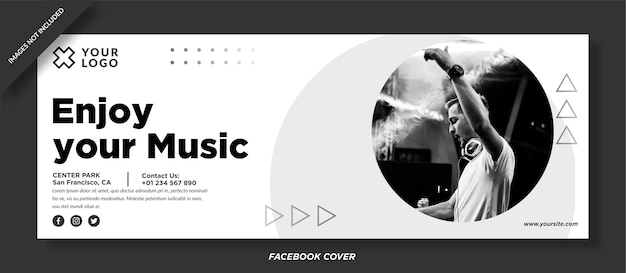 Enjoy your music event facebook cover vector