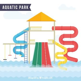 Enjoyable aquatic park in flat design