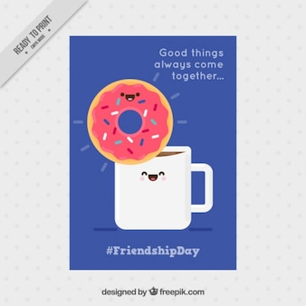 Enjoyable friendship card with a nice coffee and donut