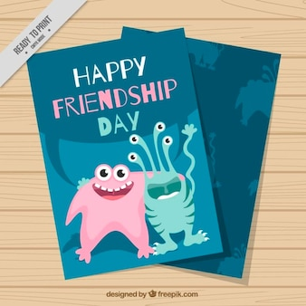 Enjoyable friendship day card with monsters