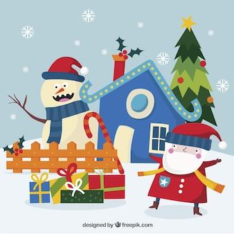 Piacevole babbo sfondo natale con i regali e pupazzo di neve