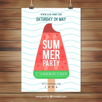 Enjoyable summer party poster with a flat ice-cream