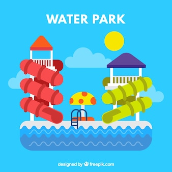 Enjoyable water park in flat design