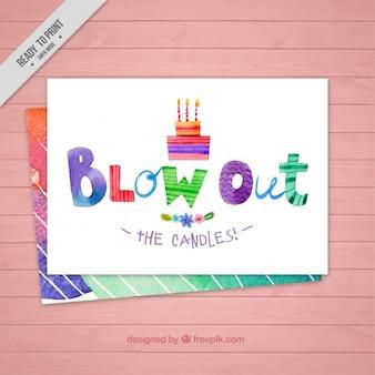 Carta di compleanno piacevole acquerello
