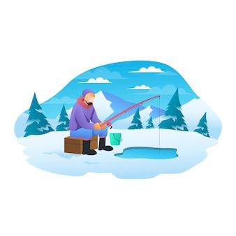 Понравилась рыбалка на зимней плоской иллюстрации