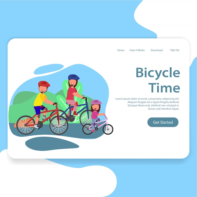 Enjoying bicycle time family illustration landing page