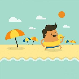 Godendo il giorno in spiaggia