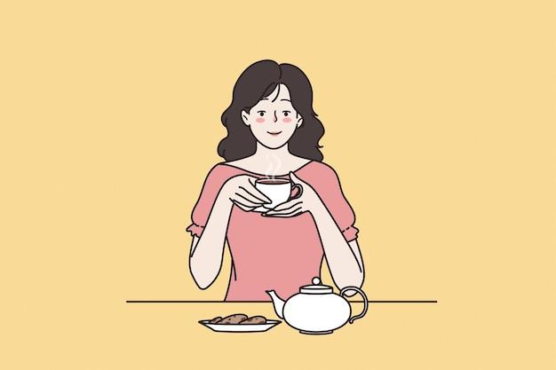 차 마시는 의식 개념 즐기기