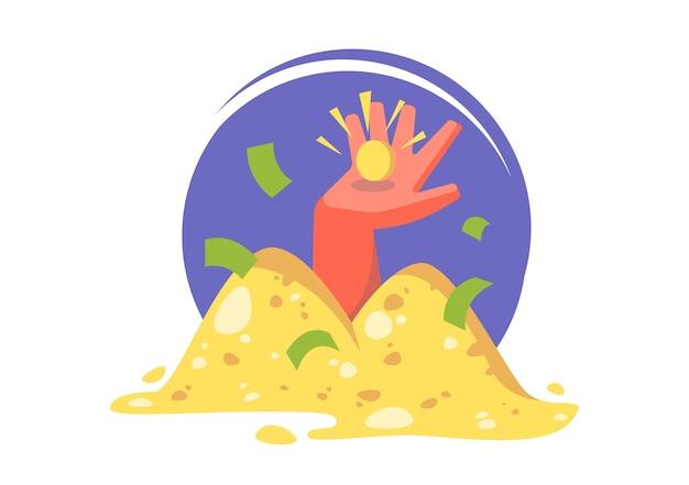 エンリッチメント。お金の大きな山。ローン、貯蓄。概念図。