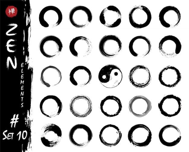 Enso zen circleは要素を設定します。インクは、水彩画の絵画のデザインを汚しています。