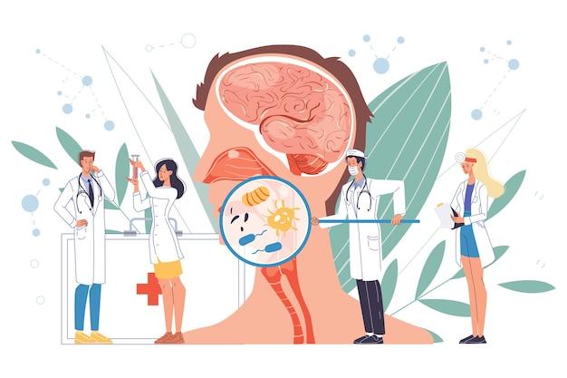 이비인후과 의사 과학자는 바이러스에 감염된 인후염을 검사합니다. 균일 한 보류 도구의 의사. 연구 시험. 임상 조사, 실험실 테스트. 의료위원회 진단. orl 클리닉