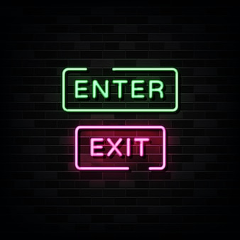 Enter. exit neon signs  design template neon style