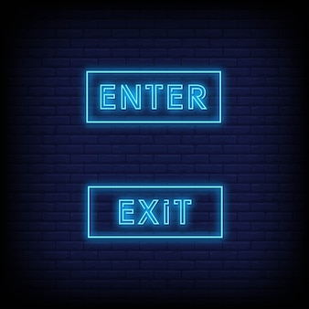 Enter and exit poster in neon style
