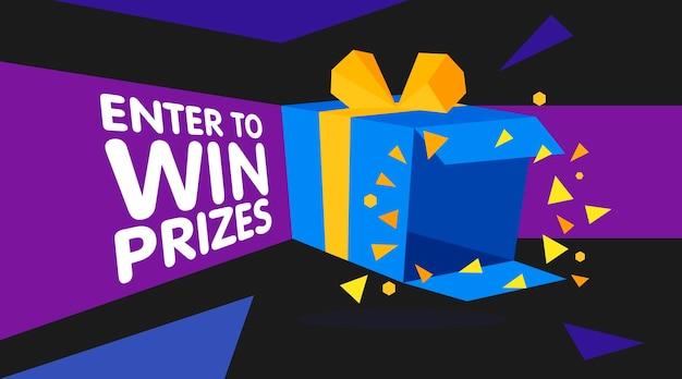 Войдите, чтобы выиграть подарочную коробку с призами. мультяшный оригами стиль векторные иллюстрации. шаблон веб-баннера
