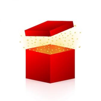 賞品を獲得するために入力してください。赤いギフトボックスと紙吹雪を開きます。ストックイラスト。